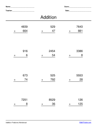 multi-digit addition worksheet maker