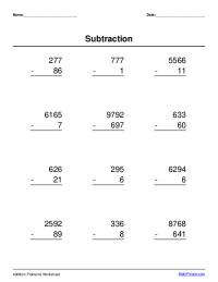 multi-digit subtraction worksheet maker